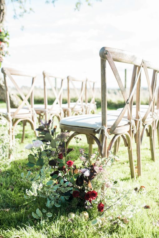 rustic oak crossback chair hire - blue goose hire