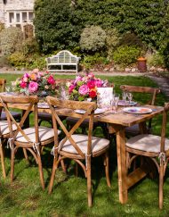 Rustic Oak Crossback Chairs - Church Farm Photoshoot