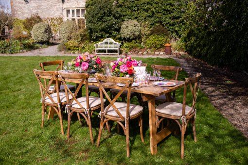 Rustic Oak Crossback Chairs - Church Farm Photoshoot