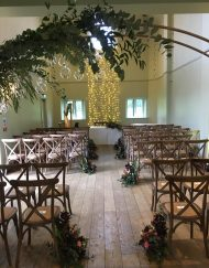 Rustic oak crossback chairs @ Ellenborough Park - Blue Goose Hire